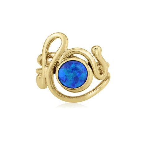 9ct Gold Dark Blue Opal Ring | Image 1