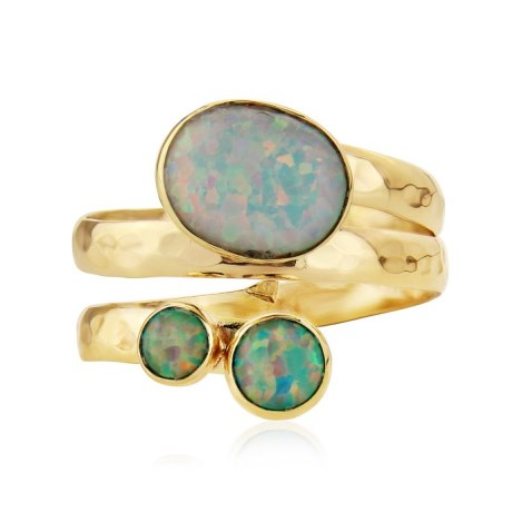 9ct Gold Spiral Ring with White and Green Opals | Image 1