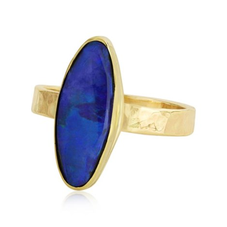 9ct Gold Ring Set With Natural Australian Blue Opal | Image 1