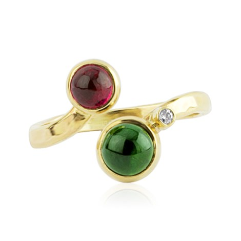 9ct Gold Green and Pink Diamond  Adjustable Tourmaline Ring | Image 1