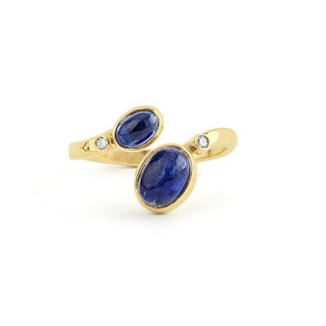 Hammered Gold Kyanite and Diamond Adjustable Ring | Image 1