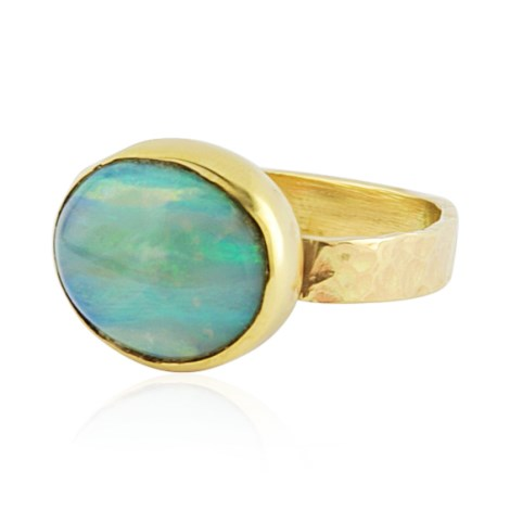 9ct Gold Ring Set With Natural Australian Green Opal | Image 1
