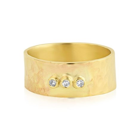 Hammered Diamond Gold Ring | Image 1