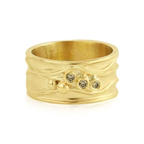 Wide Band Contemporary Diamond Gold Ring | Image 1