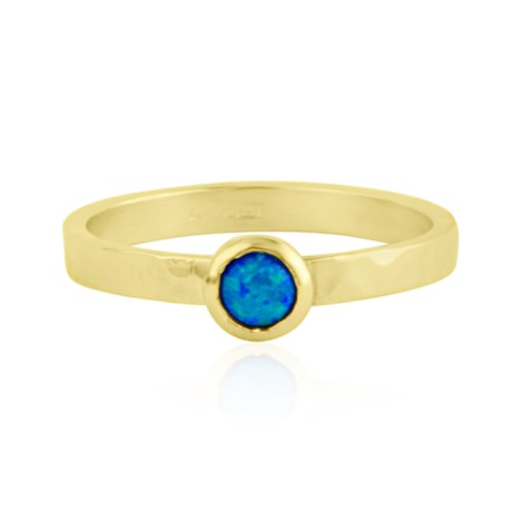 Handmade 9ct Gold 5mm Blue Opal Ring | Image 1