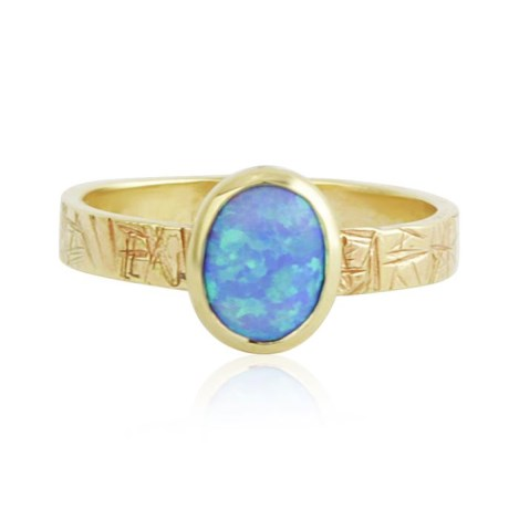Handmade 9ct Scratch pattern Blue opal ring | Image 1