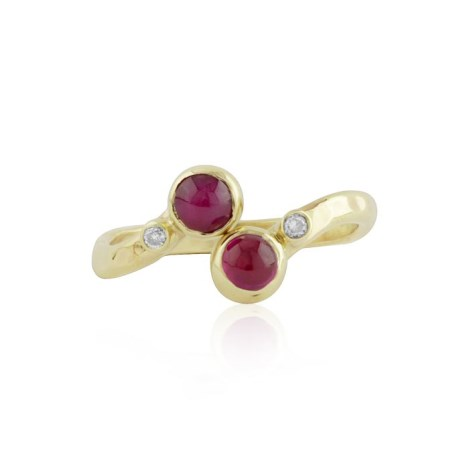Ruby and diamond gold adjustable ring | Image 1