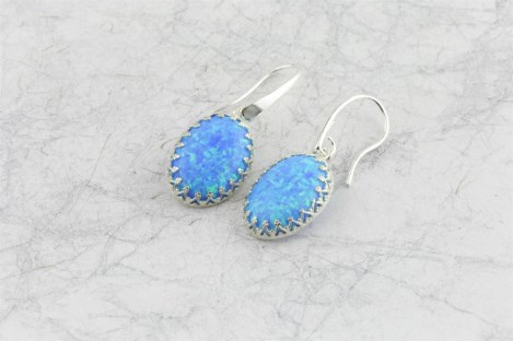 Large drop opal earrings decorative frame | Image 1
