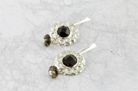 Silver drop earrings with smokey quartz | Image 1