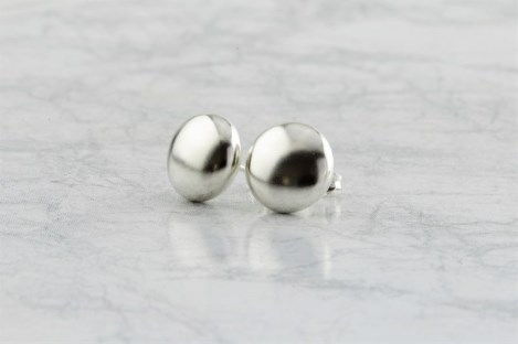 Silver stud button earrings | Image 1