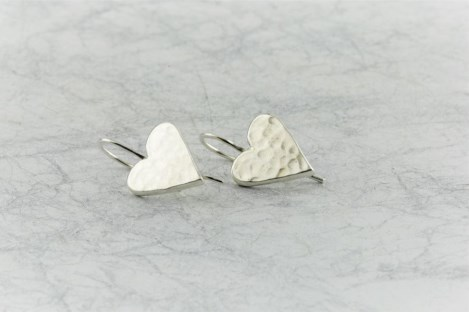 Silver heart drop earrings | Image 1