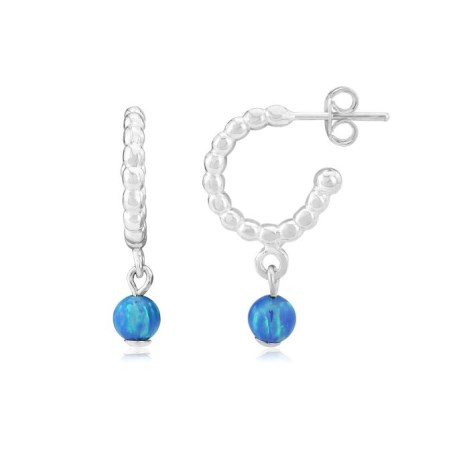 Pearl wire Hoop Earrings with Blue Opal Beads | Image 1