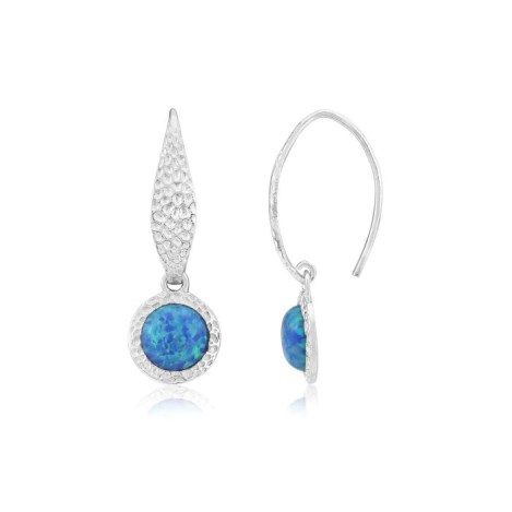 8mm Blue Opal Hammered Drop Earrings | Image 1