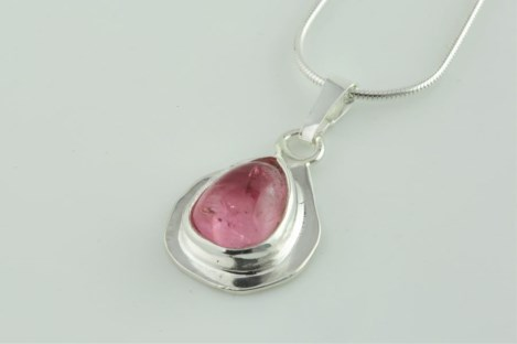 Silver pink tourmaline pendant One Of A Kind | Image 1