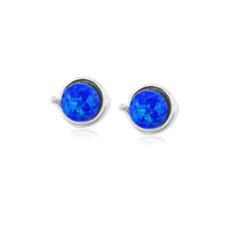 Sterling Silver Stud Earring with 8mm Dark Blue Opals | Image 1