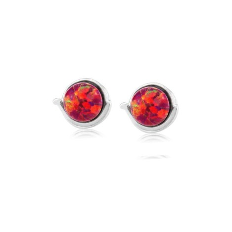 Sterling Silver Stud Earring with 8mm Red Opals | Image 1