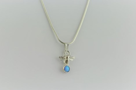 Blue opal silver bumble bee pendant | Image 1