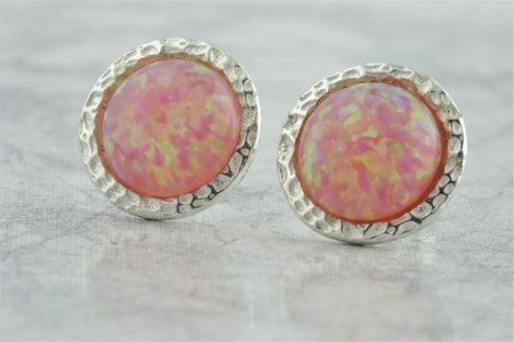 10mm pink Opal Hammered Stud Earrings | Image 1