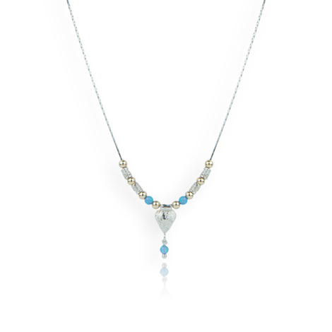 Gold and Silver Heart and Opal Necklace | Image 1