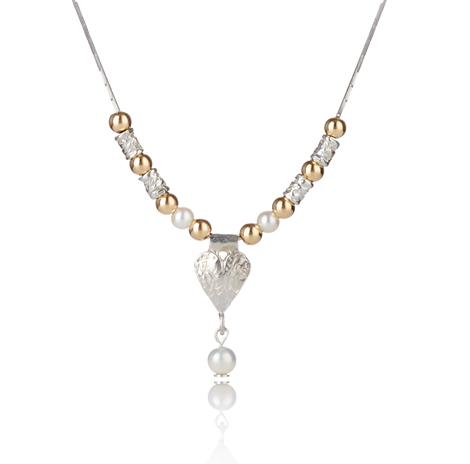Gold and Silver Heart and Pearl Necklace | Image 1