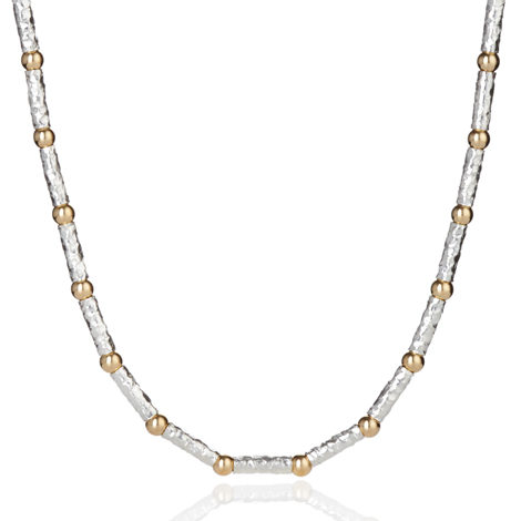 Gold and Silver Hammerd Necklace | Image 1