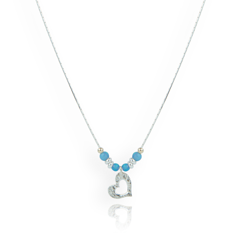Gold and Silver Opal Heart Necklace  | Image 1