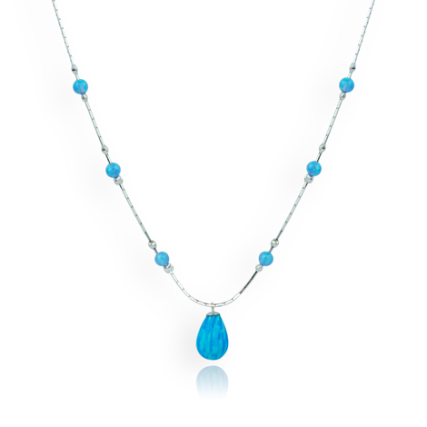 Silver and Blue Opal Necklace | Image 1