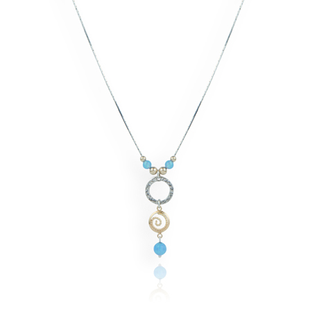 Silver and Gold Blue Opal Necklace | Image 1
