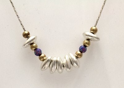Silver and Gold Nugget Necklace with Purple Opals | Image 1