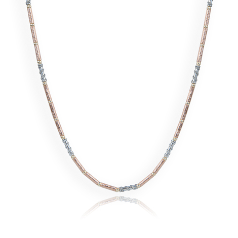 Gold and Silver Contemporary Necklace Sterling Silver and 14ct Rose Goldfilled Necklace | Image 1