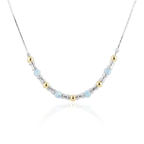 Silver and Gold white Opal Necklace | Image 1