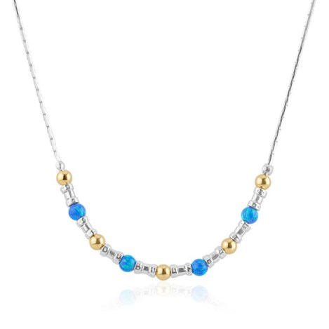 Silver and Gold Dark Blue Opal Necklace | Image 1