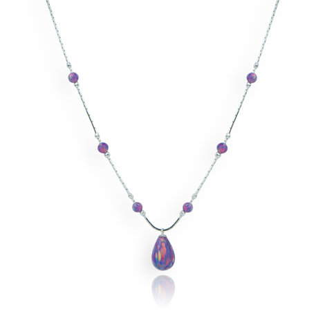 Sterling Silver Purple Opal Teardrop Necklace | Image 1