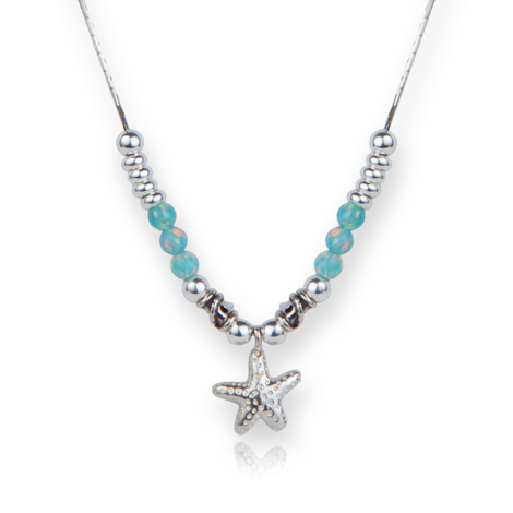 Contemporary Silver and Green Opal Starfish Necklace WAS £135.00 NOW £110.00 | Image 1