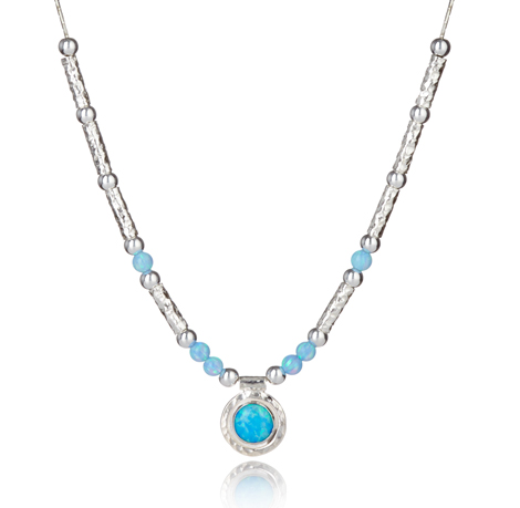 Handmade Silver Blue Opal Necklace | Image 1