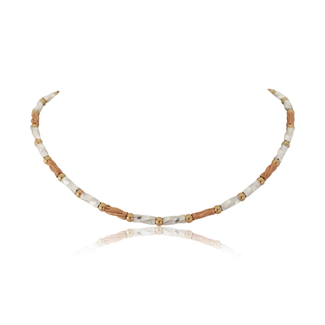 Gold and Silver Three Colour Twist Necklace | Image 1