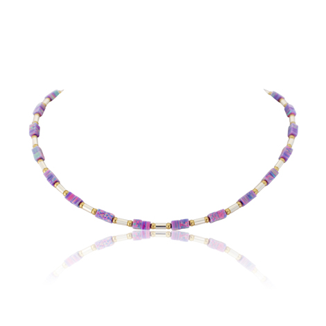 Purple Cube Opal Gold and Silver Necklace | Image 1