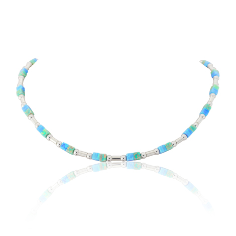 Blue and Green Opal Silver Necklace | Image 1
