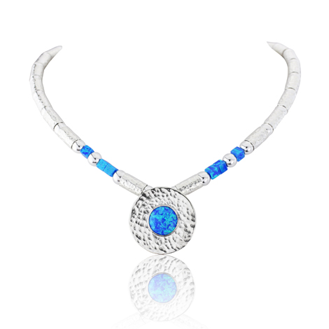 Large Hammed Silver and Blue Opal Necklace  | Image 1