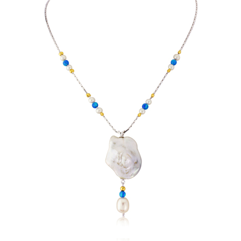 Baroque Pearl and Opal Gold and Silver Necklace WAS £235 NOW £135 | Image 1