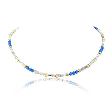 Gold and Silver with Dark Blue Opal Beads Necklace | Image 1