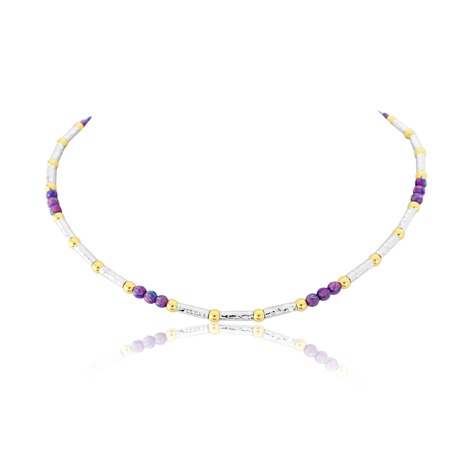 Gold and Silver Purple Opal Necklace  | Image 1