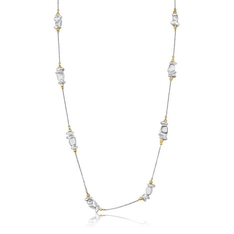 Long Gold Silver Nugget Necklace 34inch | Image 1