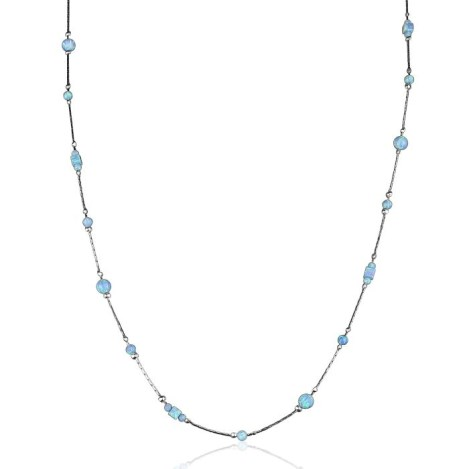 Silver and Blue Long Opal Necklace 30 inch | Image 1