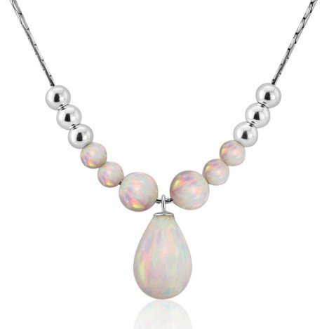 Silver Opal Teardrop Necklace | Image 1