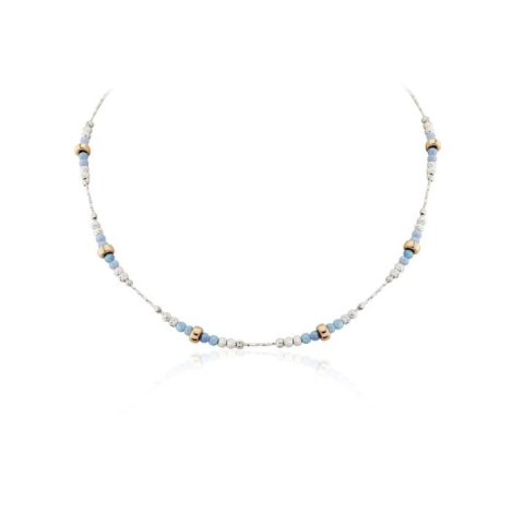 Silver and Rose Gold Blue Opal Necklace | Image 1
