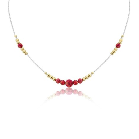 Silver and Gold Red Opal Necklace | Image 1