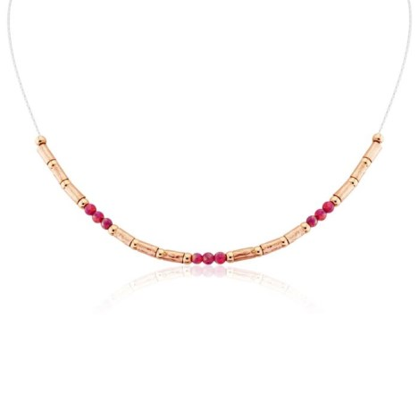 Silver and Rose Gold Red Opal Necklace | Image 1