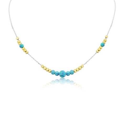 Silver and Gold Aqua Opal Necklace | Image 1