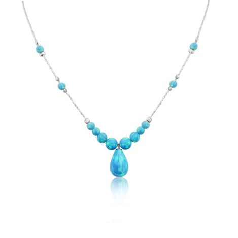 Silver and Aqua Teardrop Opal Necklace | Image 1